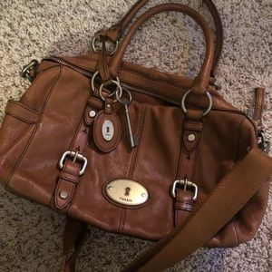 Fossil Chestnut Leather Satchel